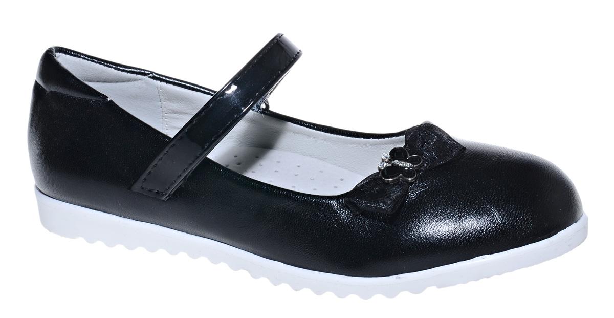 Туфли для девочки М+Д, цвет: черный. 7824_1. Размер 337824_1Стильные туфли для девочки от М+Д выполнены из искусственной кожи. Модель на плоской подошве на подъеме фиксируется при помощи ремешка на липучке. Модель оформлена очаровательным бантиком.