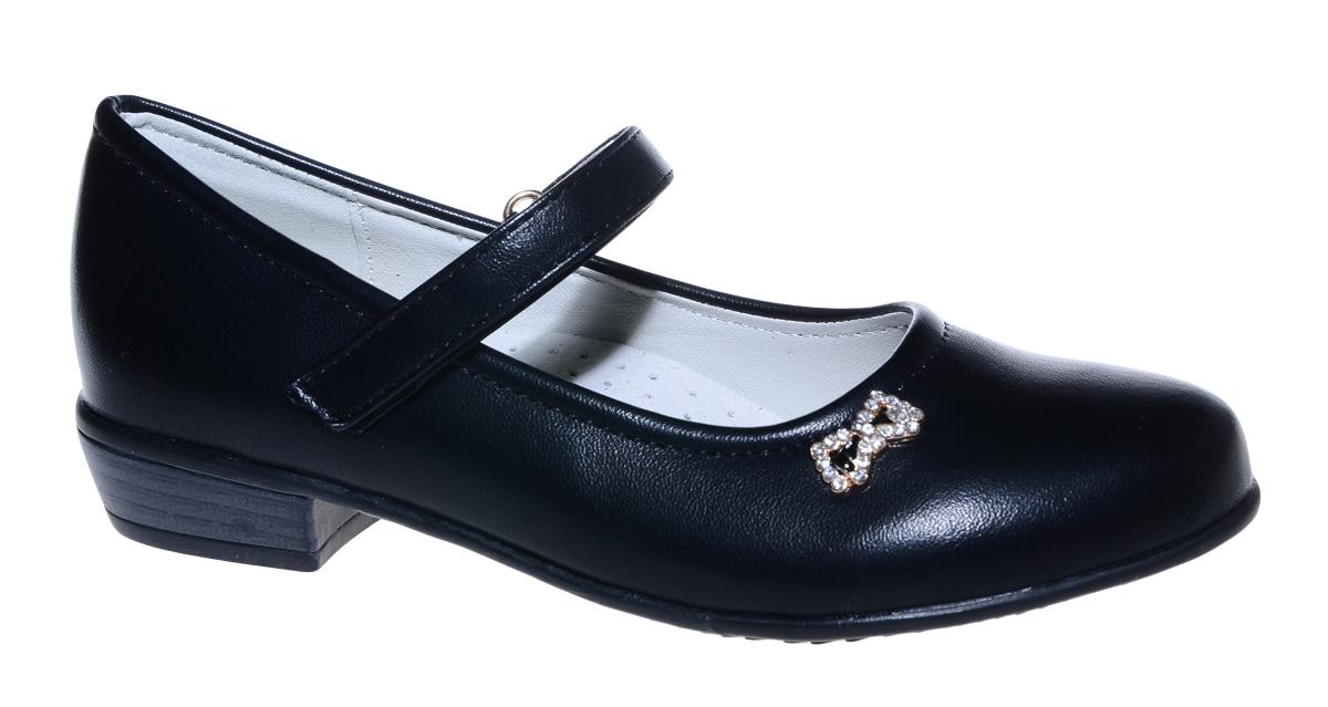 Туфли для девочки М+Д, цвет: черный. 7825_1. Размер 347825_1Стильные туфли для девочки от М+Д выполнены из искусственной кожи. Модель на небольшом квадратном каблуке на подъеме фиксируется при помощи ремешка на липучке. Модель оформлена очаровательным металлическим бантиком со стразами.
