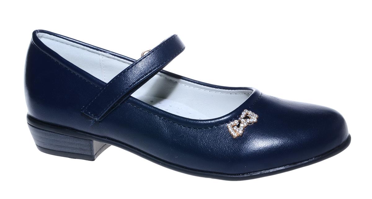 Туфли для девочки М+Д, цвет: темно-синий. 7825_2. Размер 307825_2Стильные туфли для девочки от М+Д выполнены из искусственной кожи. Модель на небольшом квадратном каблуке на подъеме фиксируется при помощи ремешка на липучке. Модель оформлена очаровательным металлическим бантиком со стразами.
