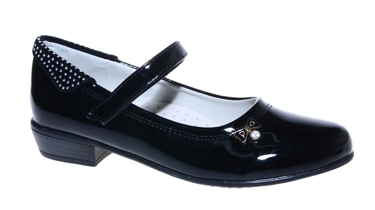 Туфли для девочки М+Д, цвет: черный. 7826_1. Размер 347826_1Стильные туфли для девочки от М+Д выполнены из искусственной лаковой кожи. Модель на небольшом квадратном каблуке на подъеме фиксируется при помощи ремешка на липучке. Модель оформлена очаровательным металлическим бантиком.