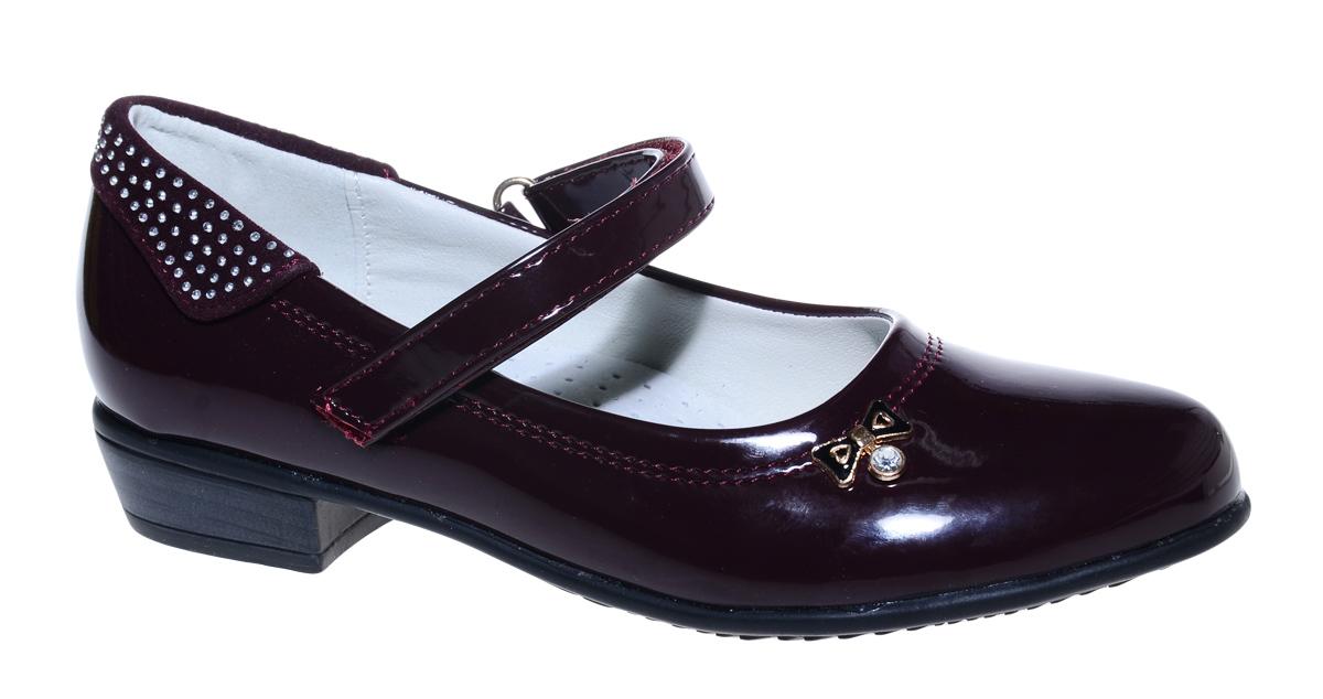 Туфли для девочки М+Д, цвет: бордовый. 7826_20. Размер 337826_20Стильные туфли для девочки от М+Д выполнены из искусственной лаковой кожи. Модель на небольшом квадратном каблуке на подъеме фиксируется при помощи ремешка на липучке. Модель оформлена очаровательным металлическим бантиком.