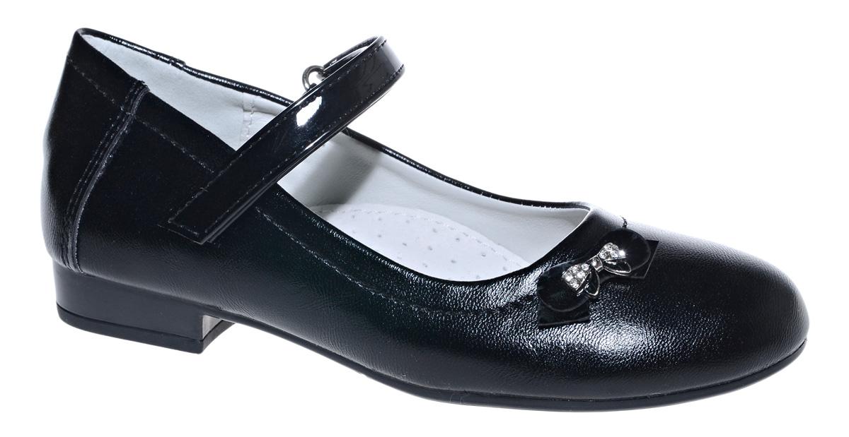 Туфли для девочки М+Д, цвет: черный. 7827_1. Размер 337827_1Стильные туфли для девочки от М+Д выполнены из искусственной кожи. Модель на небольшом квадратном каблуке на подъеме фиксируется при помощи ремешка на липучке. Модель оформлена очаровательным маленьким бантиком.