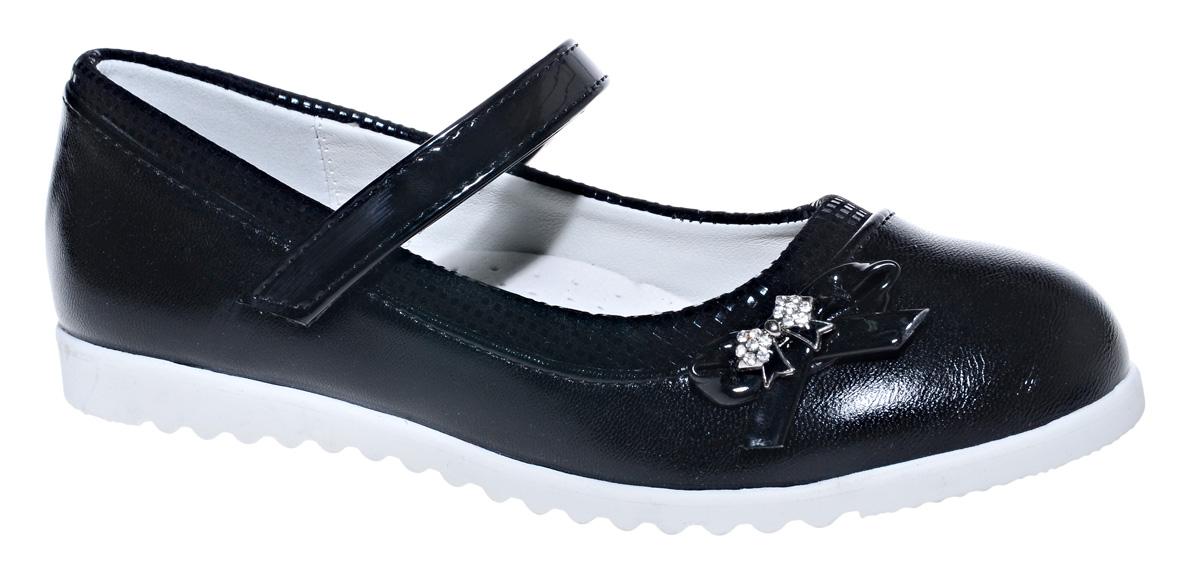 Туфли для девочки М+Д, цвет: черный. 7828_1. Размер 377828_1Стильные туфли для девочки от М+Д выполнены из искусственной кожи. Модель на плоской подошве на подъеме фиксируется при помощи ремешка на липучке. Модель оформлена очаровательным маленьким бантиком.