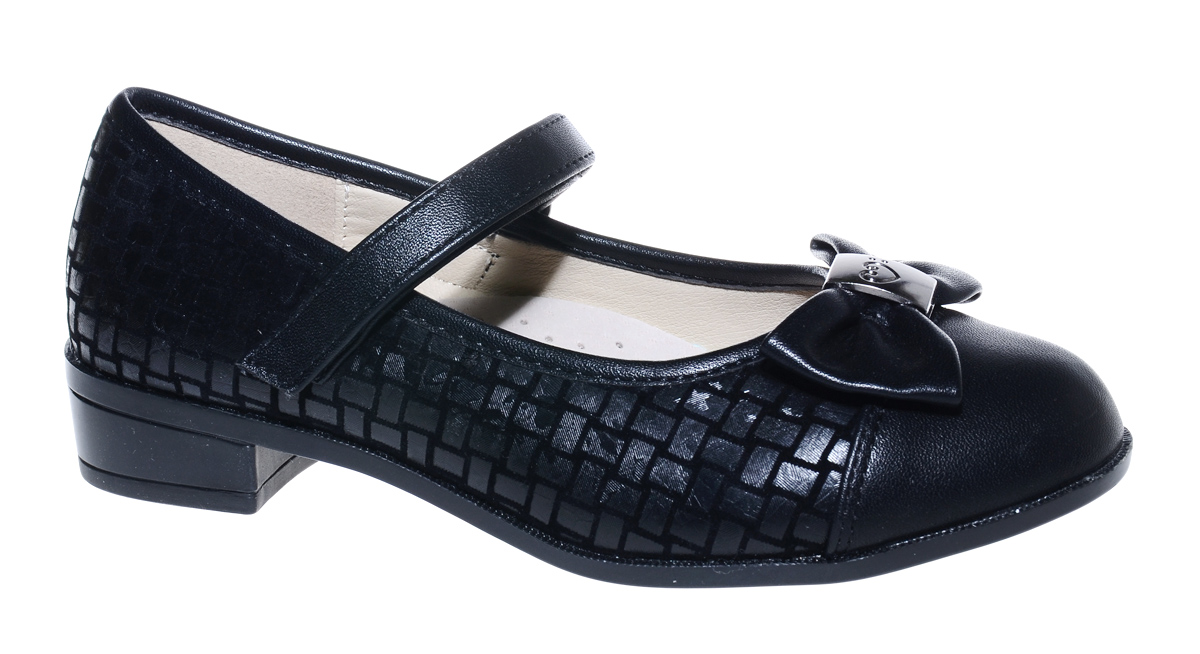 Туфли для девочки М+Д, цвет: черный. 7832_1. Размер 327832_1Стильные туфли для девочки от М+Д выполнены из фактурной искусственной кожи. Модель на небольшом квадратном каблуке на подъеме фиксируется при помощи ремешка на липучке. Туфли оформлены очаровательным бантиком.