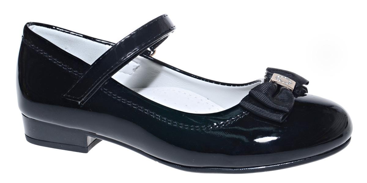 Туфли для девочки М+Д, цвет: черный. 7836_1. Размер 337836_1Стильные туфли для девочки от М+Д выполнены из искусственной лаковой кожи. Модель на небольшом квадратном каблуке на подъеме фиксируется при помощи ремешка на липучке. Туфли оформлены очаровательным бантиком.