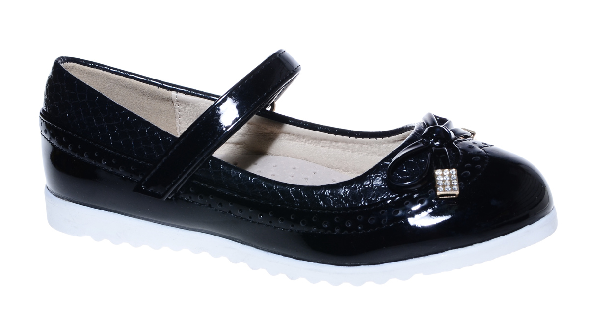 Туфли для девочки М+Д, цвет: черный. 7838_1. Размер 367838_1Стильные туфли для девочки от М+Д выполнены из искусственной лаковой кожи. Модель на плоской подошве на подъеме фиксируется при помощи ремешка на липучке. Туфли оформлены очаровательным бантиком.