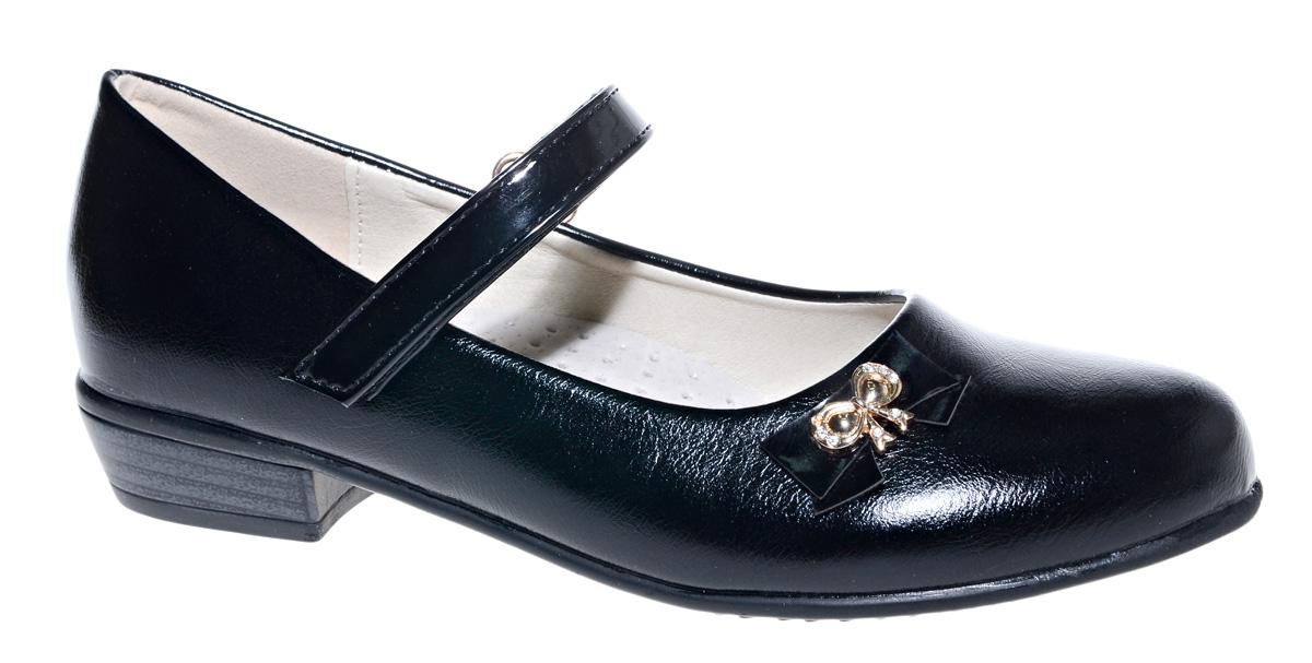 Туфли для девочки М+Д, цвет: черный. 7839_1. Размер 327839_1Стильные туфли для девочки от М+Д выполнены из искусственной кожи. Модель на небольшом квадратном каблуке на подъеме фиксируется при помощи ремешка на липучке. Туфли оформлены очаровательным металлическим бантиком со стразами.
