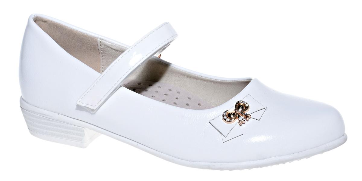 Туфли для девочки М+Д, цвет: белый. 7839_10. Размер 347839_10Стильные туфли для девочки от М+Д выполнены из искусственной кожи. Модель на небольшом квадратном каблуке на подъеме фиксируется при помощи ремешка на липучке. Туфли оформлены очаровательным металлическим бантиком со стразами.