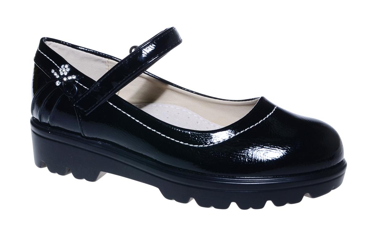 Туфли для девочки М+Д, цвет: черный. 7840_1. Размер 317840_1Стильные туфли для девочки от М+Д выполнены из искусственной лаковой кожи. Модель на тракторной подошве на подъеме фиксируется при помощи ремешка на липучке.