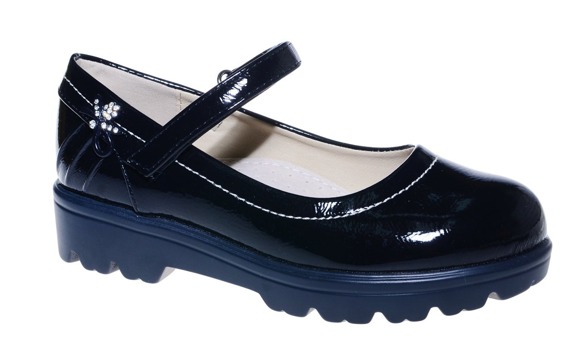Туфли для девочки М+Д, цвет: темно-синий. 7840_2. Размер 377840_2Стильные туфли для девочки от М+Д выполнены из искусственной лаковой кожи. Модель на тракторной подошве на подъеме фиксируется при помощи ремешка на липучке.