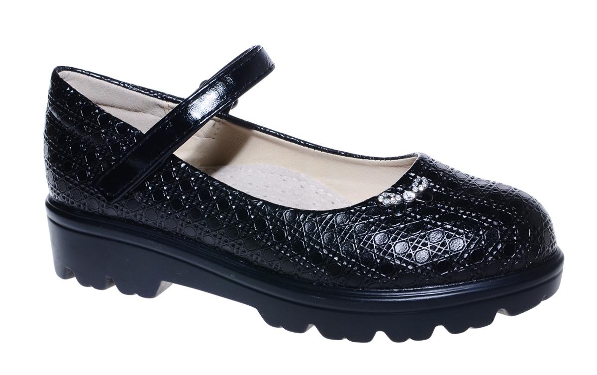 Туфли для девочки М+Д, цвет: черный. 7842_1. Размер 317842_1Стильные туфли для девочки от М+Д выполнены из фактурной искусственной лаковой кожи. Модель на тракторной подошве на подъеме фиксируется при помощи ремешка на липучке.