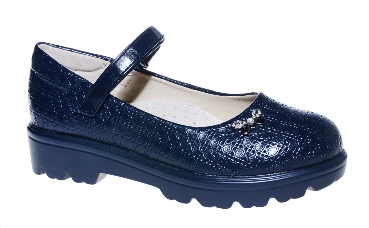 Туфли для девочки М+Д, цвет: темно-синий. 7842_2. Размер 327842_2Стильные туфли для девочки от М+Д выполнены из фактурной искусственной лаковой кожи. Модель на тракторной подошве на подъеме фиксируется при помощи ремешка на липучке.