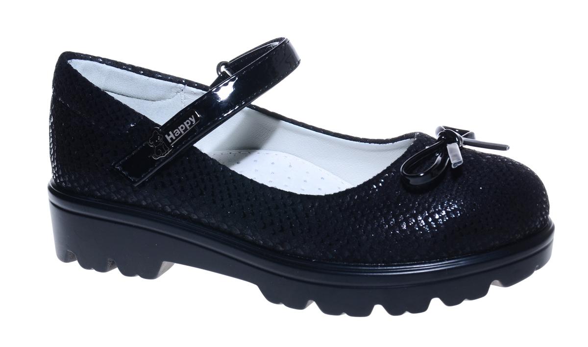 Туфли для девочки М+Д, цвет: черный. 7843_1. Размер 327843_1Стильные туфли для девочки от М+Д выполнены из фактурной искусственной кожи. Модель на тракторной подошве на подъеме фиксируется при помощи ремешка на липучке. Туфли оформлены очаровательным бантиком.