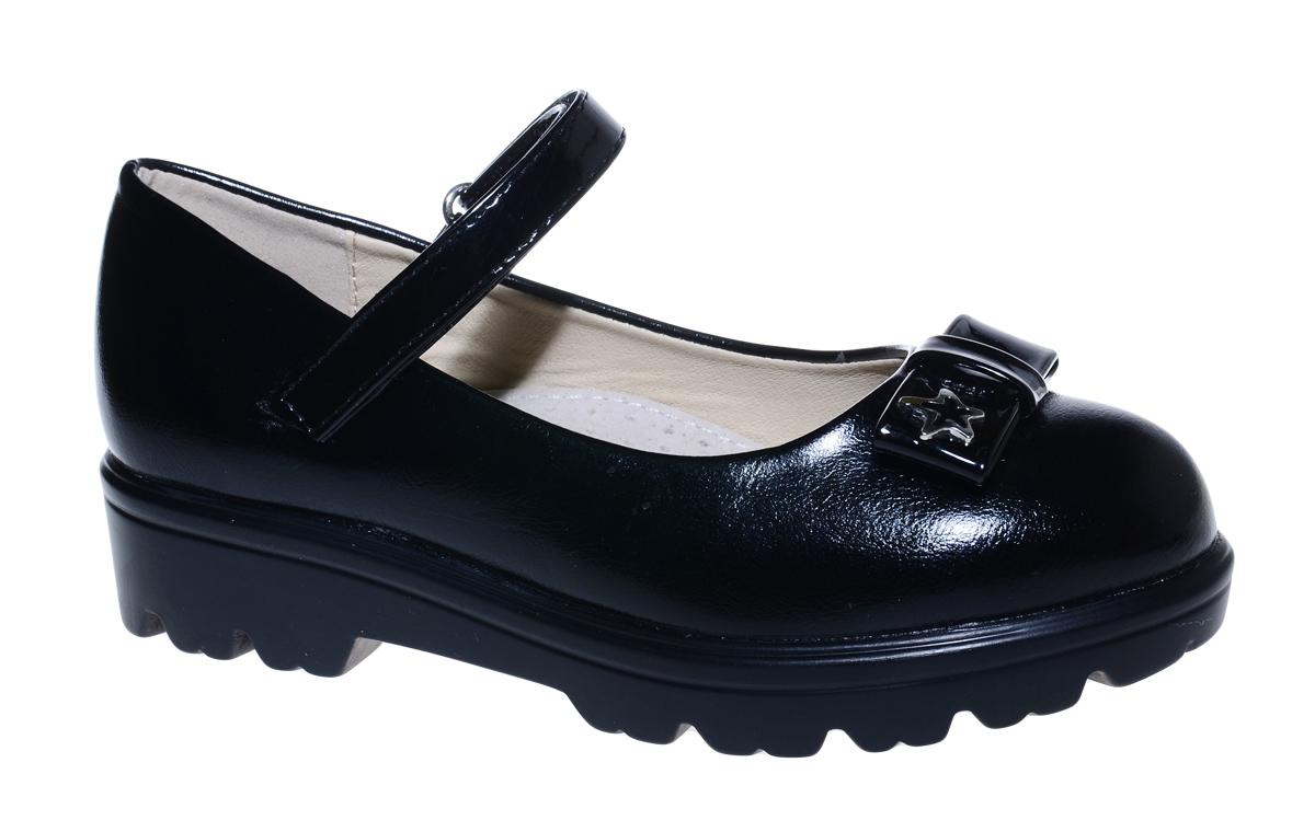 Туфли для девочки М+Д, цвет: черный. 7845_1. Размер 347845_1Стильные туфли для девочки от М+Д выполнены из искусственной лаковой кожи. Модель на тракторной подошве на подъеме фиксируется при помощи ремешка на липучке. Туфли оформлены очаровательным бантиком.