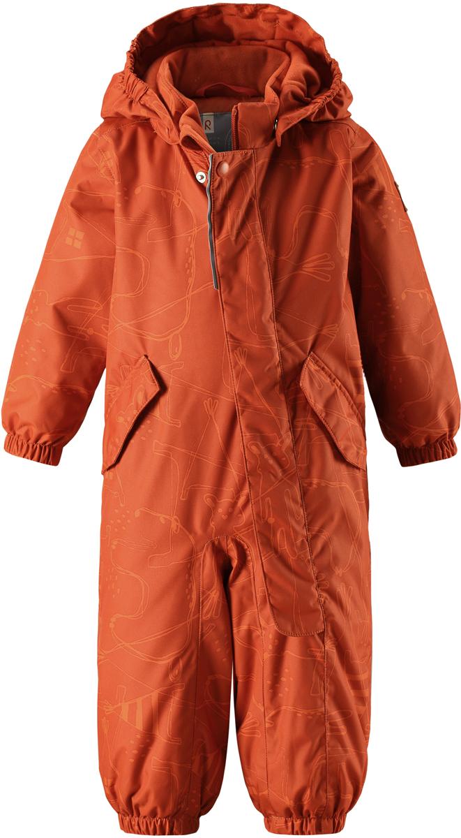 Комбинезон детский Reima Reimatec Bunny, цвет: оранжевый. 5102652851. Размер 745102652851Отличный зимний комбинезон для малышей от Reima! Основные швы комбинезона проклеены, а сам он изготовлен из водо- и ветронепроницаемого, грязеотталкивающего материала. Утепленная задняя часть обеспечит дополнительную защиту от холода во время игр в снегу. Гладкая подкладка и длинная молния облегчают надевание, а талия в комбинезоне регулируется. Два кармана с клапанами надежно сохранят все сокровища.Средняя степень утепления.