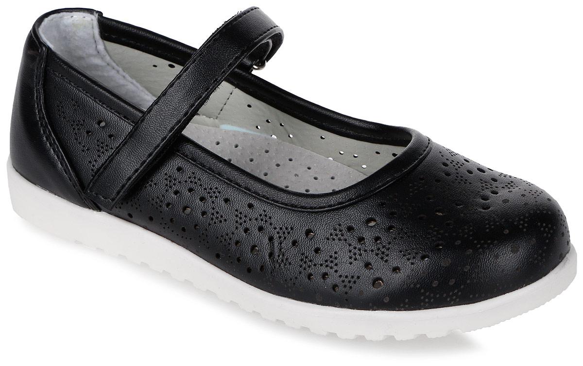 Туфли для девочки Мифер, цвет: черный. 7212A. Размер 277212AПрелестные туфли от бренда Мифер придутся по душе вашей юной моднице! Модель изготовлена из искусственной кожи и оформлена декоративной перфорацией. Ремешок с застежкой-липучкой отвечает за надежную фиксацию модели на ноге. Внутренняя поверхность из натуральной кожи не натирает. Стелька из кожи дарит комфорт при носке. Подошва с рифлением обеспечивает идеальное сцепление с любыми поверхностями. Стильные туфли - незаменимая вещь в гардеробе каждой девочки.