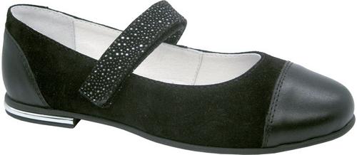 Туфли для девочки Зебра, цвет: черный. 11824-1. Размер 3511824-1Стильные туфли для девочки Зебра гарантируют здоровое и правильное развитие ног ребенка.Модель выполнена из натуральной замши с кожаными вставками и оформлена стразами. Внутренняя отделка выполнена из натуральной кожи. Туфли имеют внутреннюю форму, которая соответствует анатомическому строению стопы ребенка, что гарантирует комфортное положение ноги и обеспечивает условия, необходимые для ее роста и нормального функционирования. Удобная застежка-липучка быстро и надежно фиксирует обувь на ноге ребенка, а формованный жесткий задник, плотно охватывающий пятку, обеспечивает правильную установку стопы внутри туфель, предотвращая развитие деформаций.Стелька с супинатором, изготовленная из натуральной кожи, учитывает анатомические особенности строения детской стопы, обеспечивает им наилучшую защиту и профилактику от развития плоскостопия, гарантирует ногам ребенка ощущение комфорта и легкости при ходьбе, уменьшает усталость мышц и связок.Рифленая подошва туфель из легкого полимерного термопластичного материала обладает высокой прочностью, гибкостью, надежным сцеплением с различными покрытиями, не пачкает полы и оставляет следов и полос.