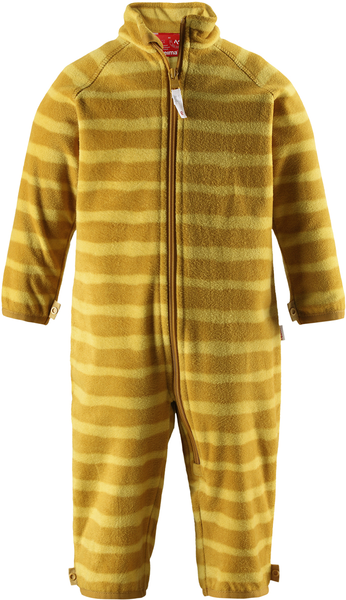 Комбинезон флисовый детский Reima Tulus, цвет: желтый. 5163182462. Размер 985163182462Флисовый комбинезон для малышей превосходно послужит в качестве промежуточного слоя в морозные зимние дни – он теплый и очень мягкий на ощупь. Этот комбинезон изготовлен из легкого полярного флиса, дышащего и быстросохнущего материала, который обеспечивает ребенку полный комфорт во время активных прогулок. Молния во всю длину облегчает надевание, а защита для подбородка не дает поцарапать шею и подбородок ребенка.