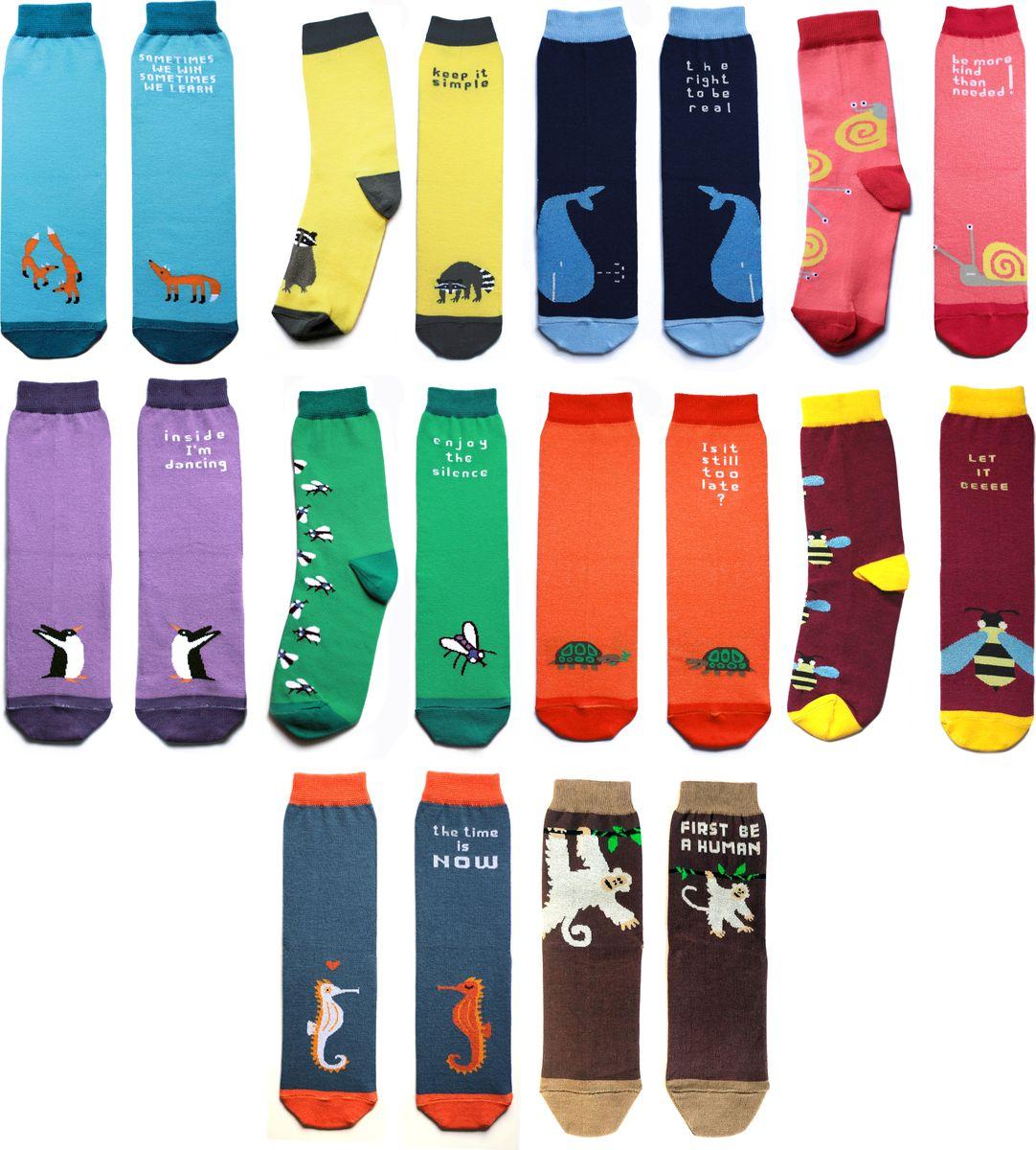 Носки Big Bang Socks, цвет: голубой, желтый, синий, зеленый, оранжевый, 10 пар. p011031. Размер 40/44p011031Подарочный набор ярких, оригинальных носков с несимметричными принтами лиса, енот, кит, муха, черепашка, улитка, пингвин, обезьянка, морской конек, оса
