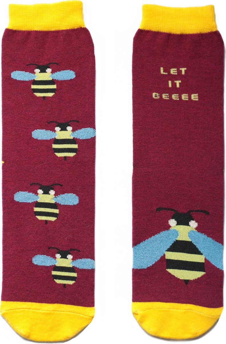 Носки детские Big Bang Socks, цвет: вишневый. ca11011. Размер 30/34ca11011Яркие носки с несимметричным принтом оса и надписью let it beeee (будь как будет)