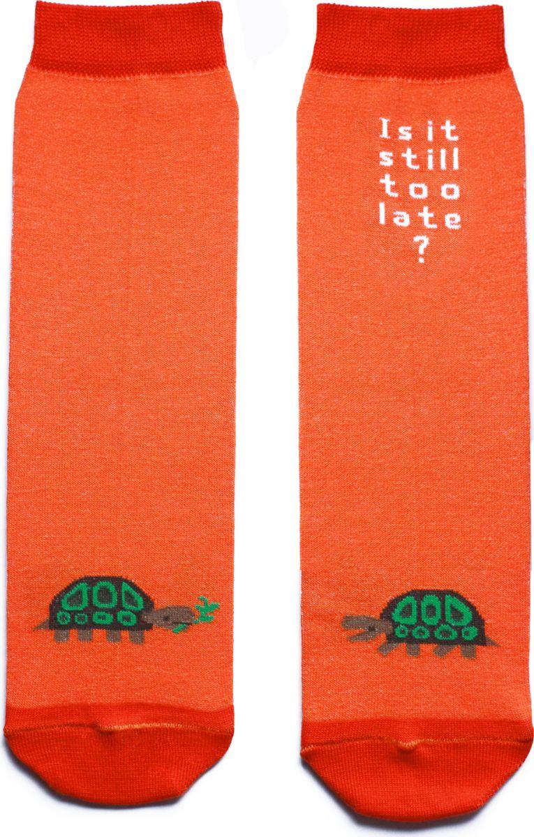 Носки детские Big Bang Socks, цвет: оранжевый. ca1511. Размер 30/34ca1511Яркие носки Big Bang Socks изготовлены из высококачественного хлопка с добавлением полиамидных и эластановых волокон, которые обеспечивают великолепную посадку. Носки отличаются ярким стильным дизайном, они оформлены изображением черепахи и надписью: Is it still too late?. Удобная резинка идеально облегает ногу и не пережимает сосуды, усиленные пятка и мысок повышают износоустойчивость носка, а удлиненный паголенок придает более эстетичный вид. Дизайнерские носки Big Bang Socks - яркая деталь в вашем образе и оригинальный подарок для друзей и близких.