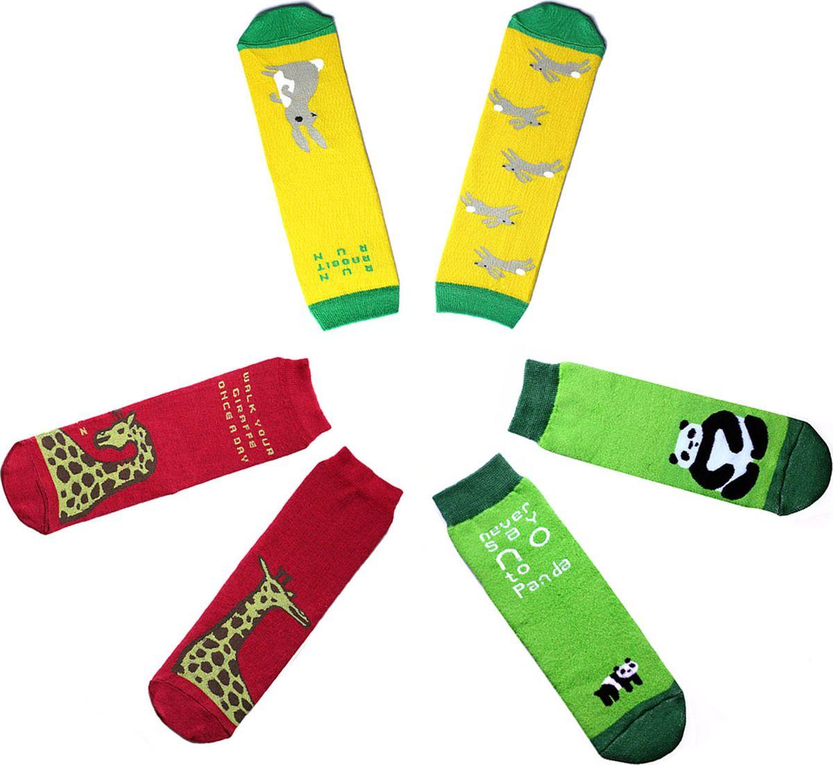 Носки детские Big Bang Socks, цвет: салатовый, желтый, красный, 3 пары. p0311. Размер 30/34p0311/p0321/p0331Яркие носки Big Bang Socks изготовлены из высококачественного хлопка с добавлением полиамидных и эластановых волокон, которые обеспечивают великолепную посадку. Носки отличаются ярким стильным дизайном. Они оформлены изображением животных и забавными надписями на английском языке.