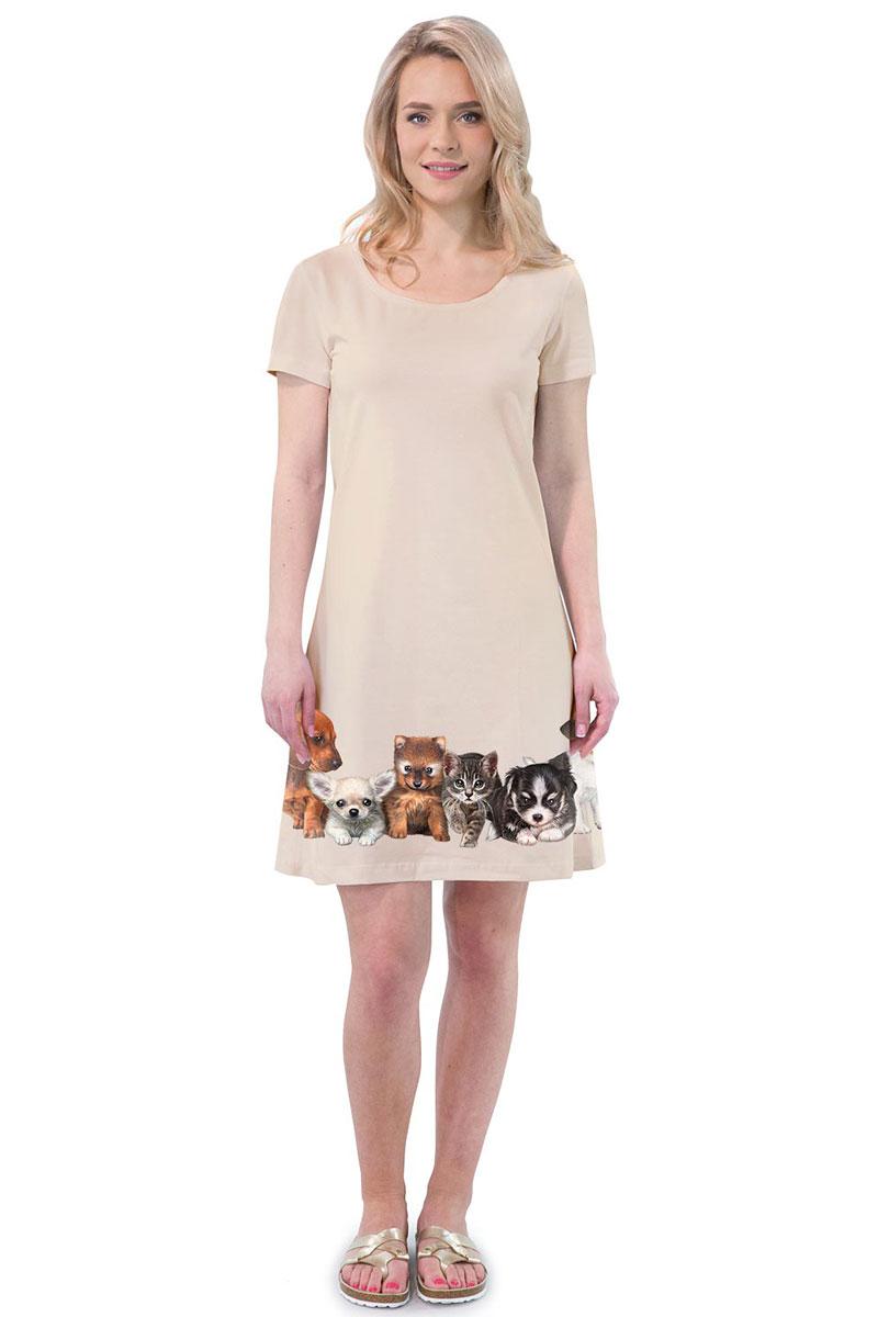 Платье MF Зверята, цвет: бежевый. ПЛ-41(18). Размер M (46)ПЛ-41(18)Стильное платье от MF выполнено из эластичного хлопка. Модель трапециевидного кроя с короткими рукавами и круглым вырезом горловины оформлена принтом.