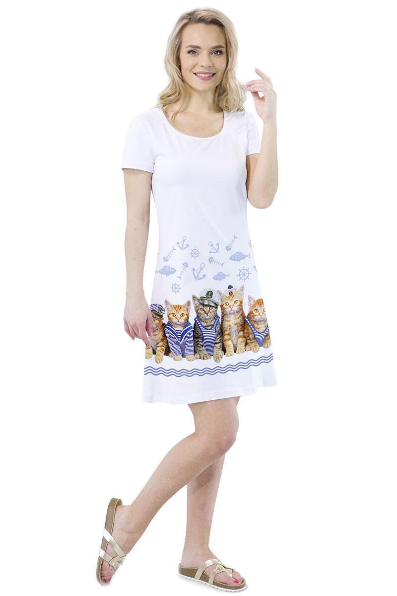 Платье MF Морские котики, цвет: белый. ПЛ-41(16). Размер M (46)ПЛ-41(16)Стильное платье от MF выполнено из эластичного хлопка. Модель трапециевидного кроя с короткими рукавами и круглым вырезом горловины оформлена принтом.