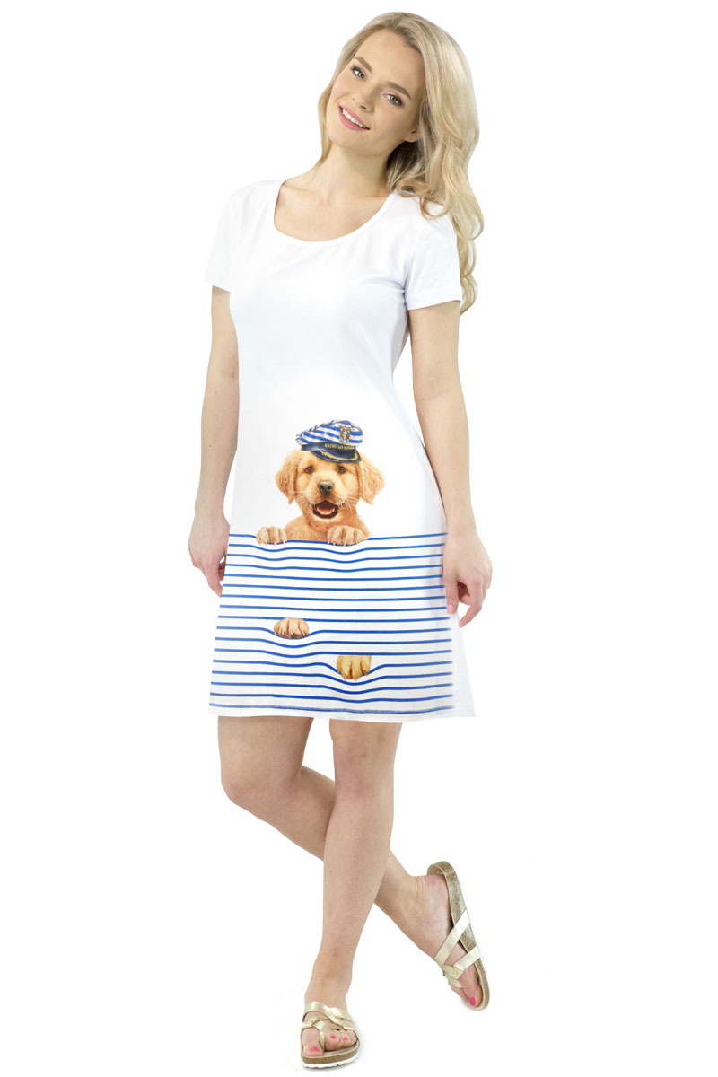 Платье MF Пес Капитан, цвет: белый. ПЛ-41(17). Размер L (48)ПЛ-41(17)Стильное платье от MF выполнено из эластичного хлопка. Модель трапециевидного кроя с короткими рукавами и круглым вырезом горловины оформлена принтом.