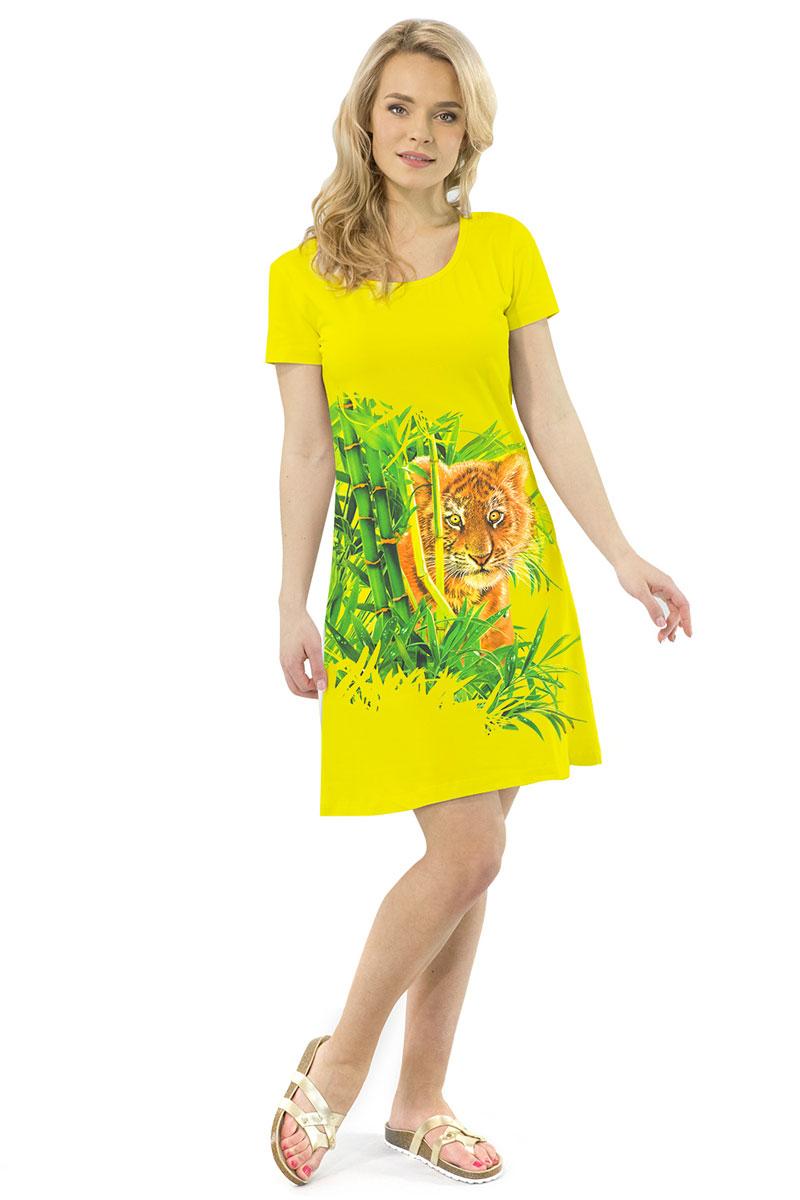 Платье MF Тигренок в джунглях, цвет: желтый. ПЛ-41(1). Размер XS (42)ПЛ-41(1)Стильное платье от MF выполнено из эластичного хлопка. Модель трапециевидного кроя с короткими рукавами и круглым вырезом горловины оформлена принтом.