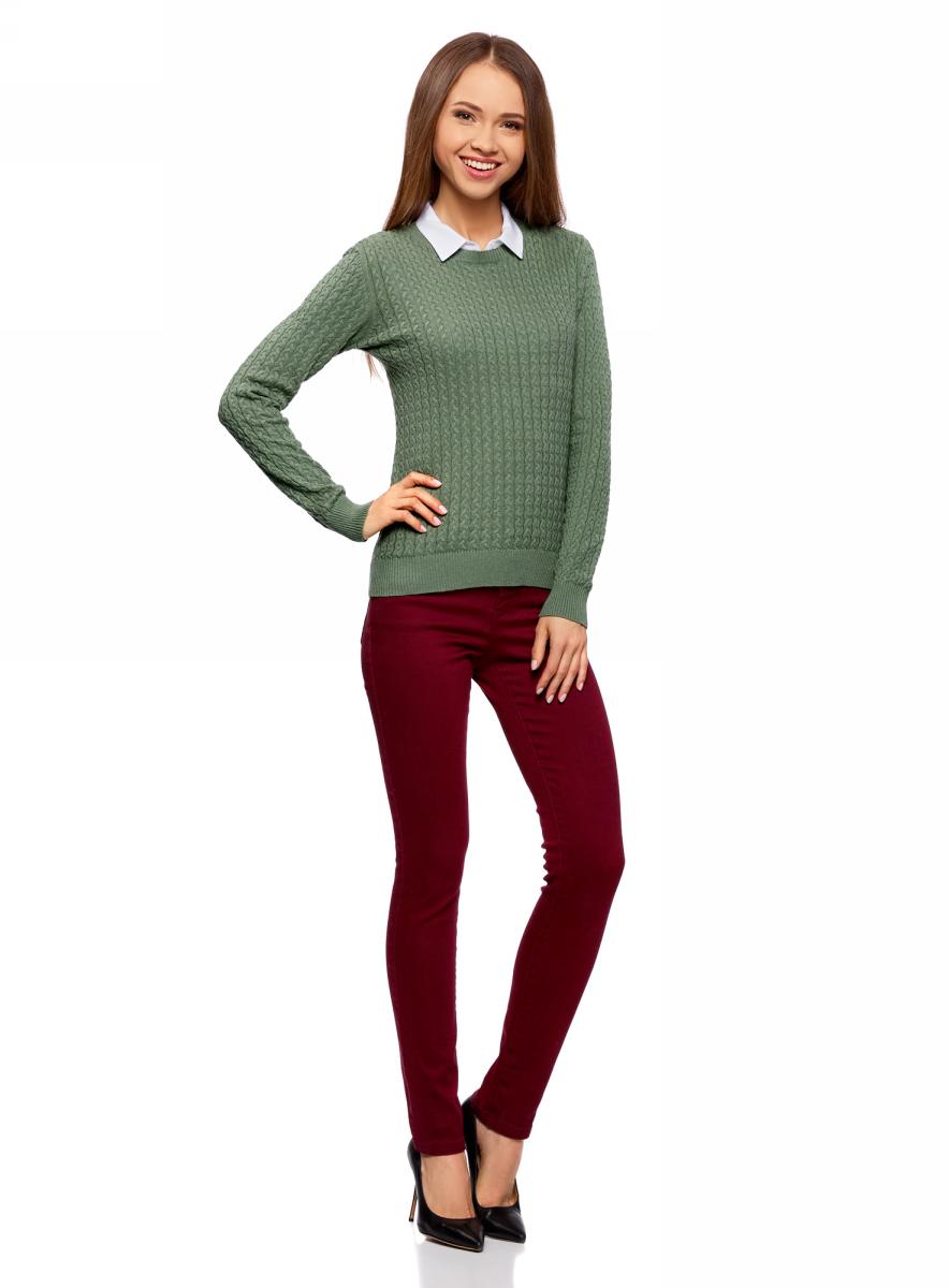 Джемпер женский oodji Collection, цвет: зеленый. 73812624-1B/46139/6200N. Размер S (44)73812624-1B/46139/6200NДжемпер фактурной вязки в мелкую косичку