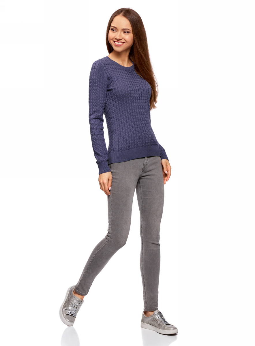 Джемпер женский oodji Collection, цвет: синий. 73812624-1B/46139/7500N. Размер S (44)73812624-1B/46139/7500NДжемпер фактурной вязки в мелкую косичку
