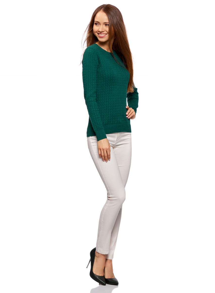 Джемпер женский oodji Collection, цвет: темно-изумрудный. 73812624-1B/46139/6E00N. Размер XL (50)73812624-1B/46139/6E00NДжемпер фактурной вязки в мелкую косичку