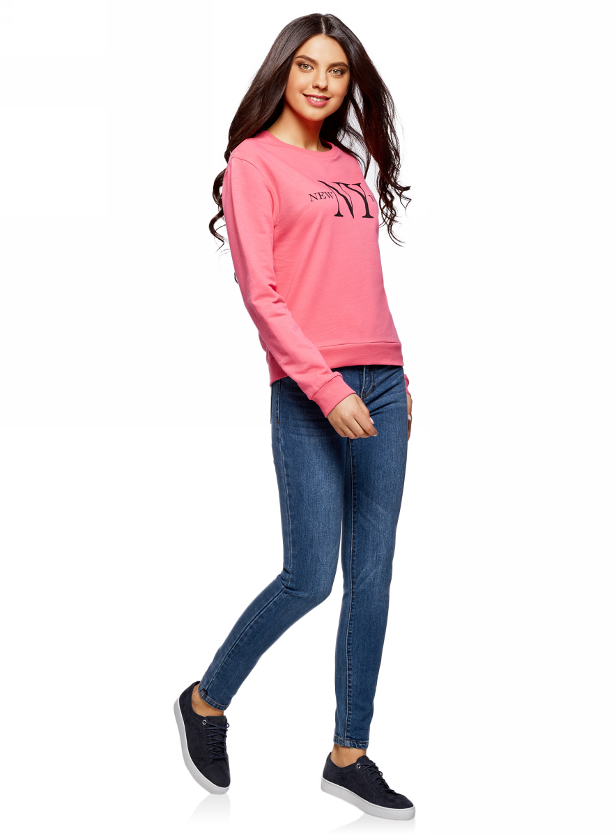 Джинсы женские oodji Ultra, цвет: синий джинс. 12103145B/46341/7500W. Размер 29-30 (48-30)12103145B/46341/7500WЖенские джинсы oodji выполнены из высококачественного материала на основе хлопка. Джинсы с высокой посадкой застегиваются на пуговицу в поясе и ширинку на застежке-молнии, дополнены шлевками для ремня. Спереди модель дополнена двумя втачными карманами, одним маленьким накладным, а сзади - двумя накладными карманами. Изделие дополнено декоративными потертостями.