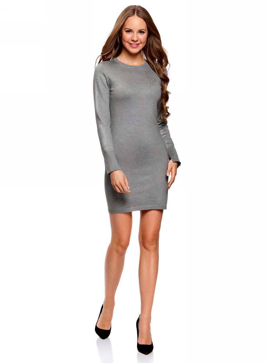 Платье женское oodji Collection, цвет: серый меланж. 73912217-2B/33506/2300M. Размер XXS (40)73912217-2B/33506/2300MПлатье вязаное базовое