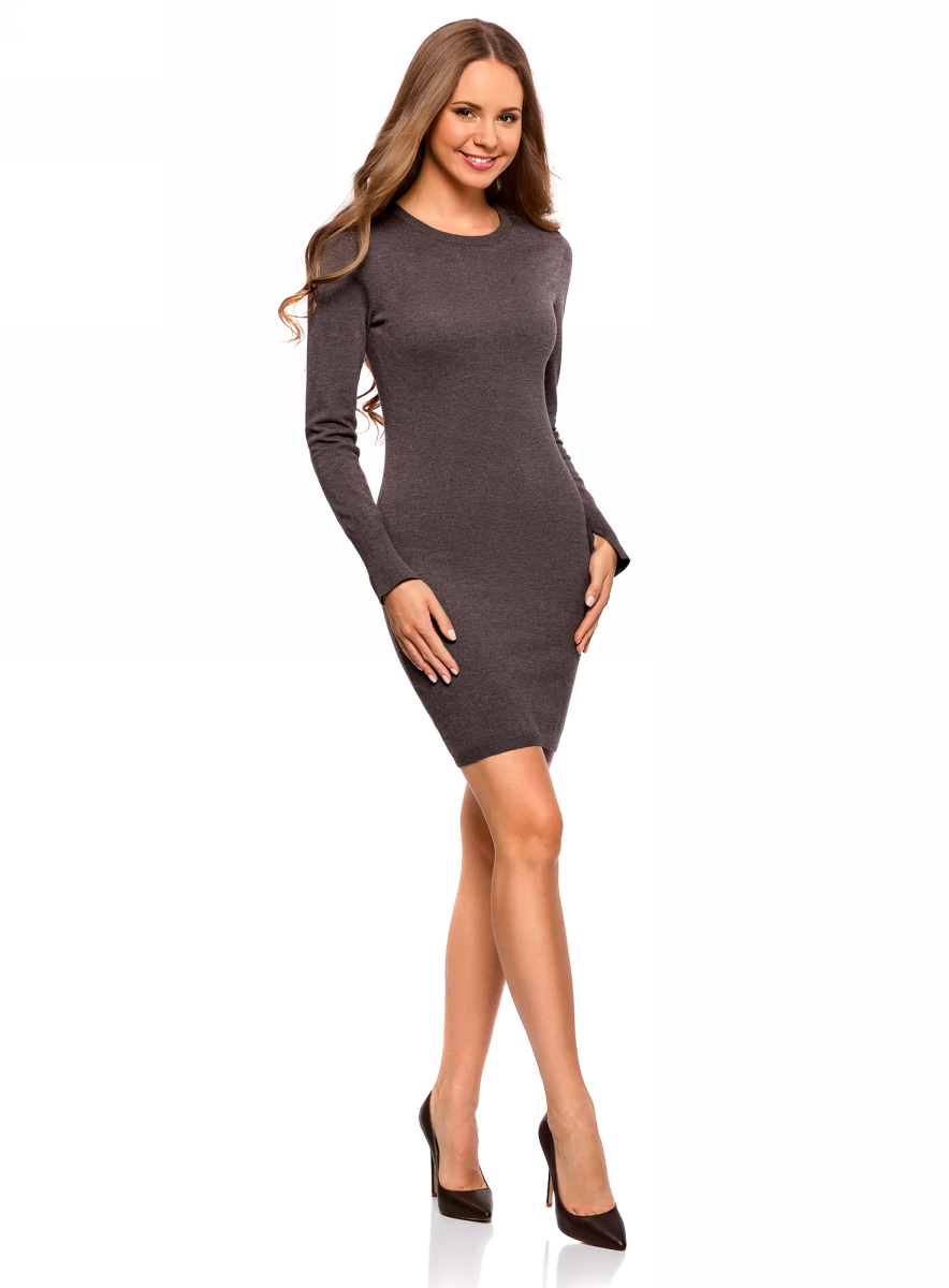 Платье oodji Collection, цвет: темно-коричневый меланж. 73912217-2B/33506/3900M. Размер XXL (52)73912217-2B/33506/3900MВязаное базовое платье от oodji выполнено из вискозной пряжи с добавлением полиамида. Модель длины мини с длинными рукавами и круглым вырезом горловины.