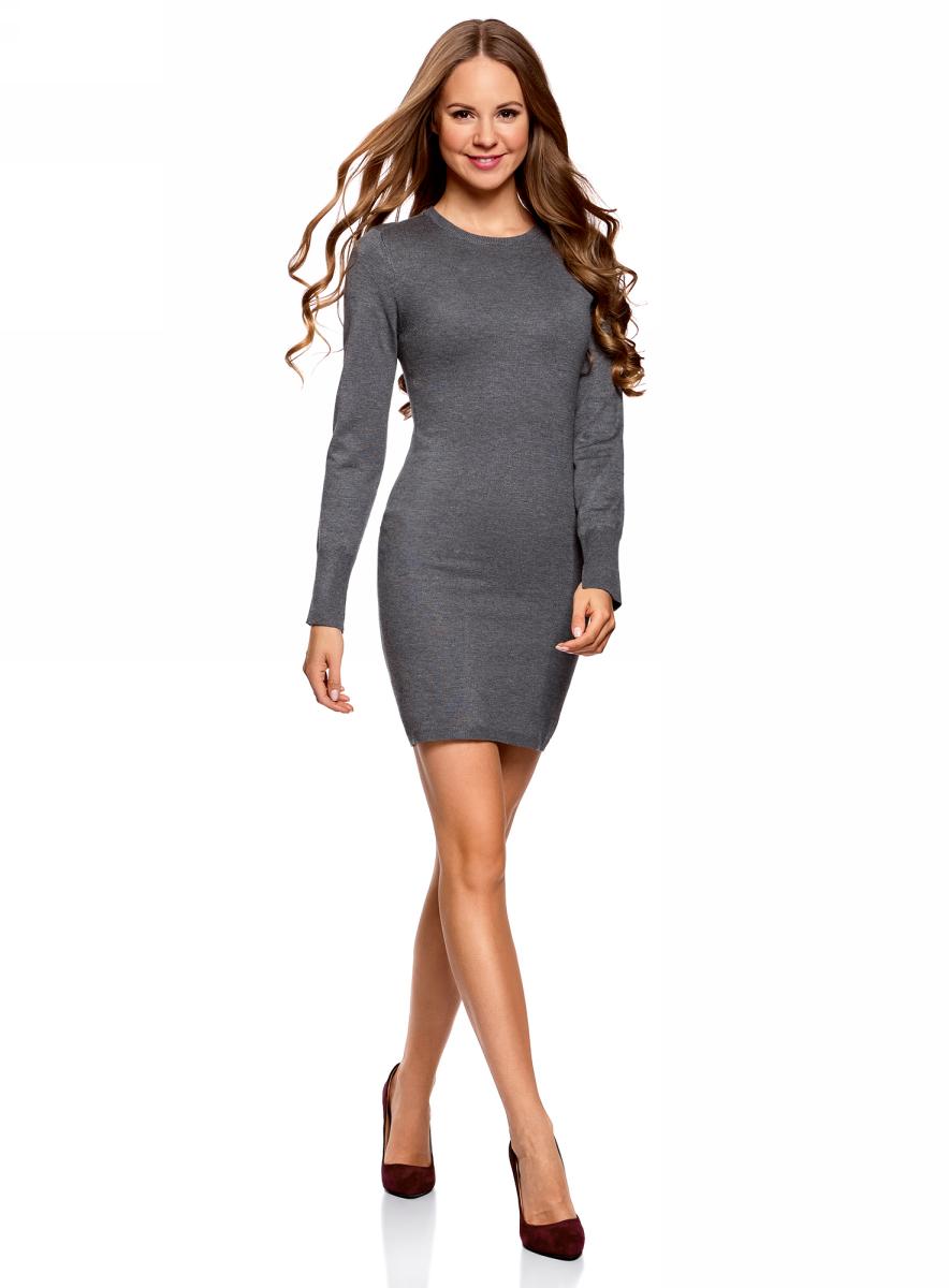 Платье oodji Collection, цвет: темно-серый меланж. 73912217-2B/33506/2500M. Размер L (48)73912217-2B/33506/2500MВязаное базовое платье от oodji выполнено из вискозной пряжи с добавлением полиамида. Модель длины мини с длинными рукавами и круглым вырезом горловины.