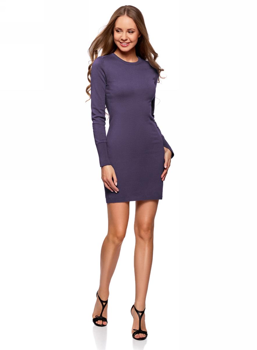 Платье oodji Collection, цвет: темно-синий. 73912217-2B/33506/7900N. Размер XXL (52)73912217-2B/33506/7900NВязаное базовое платье от oodji выполнено из вискозной пряжи с добавлением полиамида. Модель длины мини с длинными рукавами и круглым вырезом горловины.