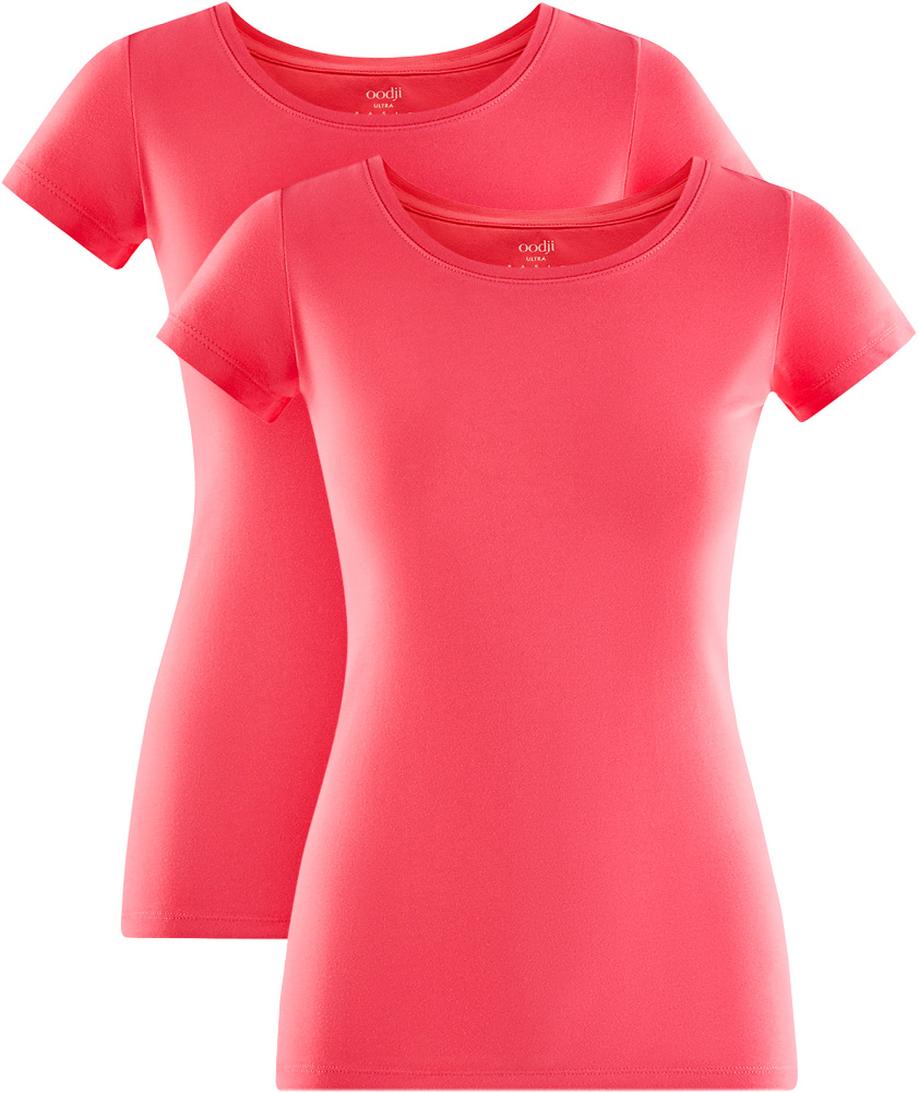 Футболка женская oodji Ultra, цвет: ярко-розовый, 2 шт. 14701005T2/46147/4D00N. Размер S (44)14701005T2/46147/4D00NФутболки приталенного силуэта красиво смотрятся на любой фигуре. Ткань из хлопка с небольшим добавлением эластана дышит, тянется, комфортна для тела, после стирок хорошо держит форму. В такой футболке ваши движения не стеснены. Набор из двух базовых футболок - практичное решение для тех, кто ценит удобство. Вы всегда будете уверены в том, что у вас есть в запасе чистая футболка. Базовая футболка станет основой для создания стильного спортивного комплекта. В ней можно заниматься спортом, гулять с домашним питомцем. Ее удобно носить в качестве домашней одежды. Футболки хорошо сочетаются с трикотажными спортивными брюками, шортами, бриджами, юбками. Сверху комплект с футболкой можно дополнить толстовкой или худи. Из обуви прекрасно подойдут кроссовки или кеды. Прекрасные футболки для самых разных случаев!