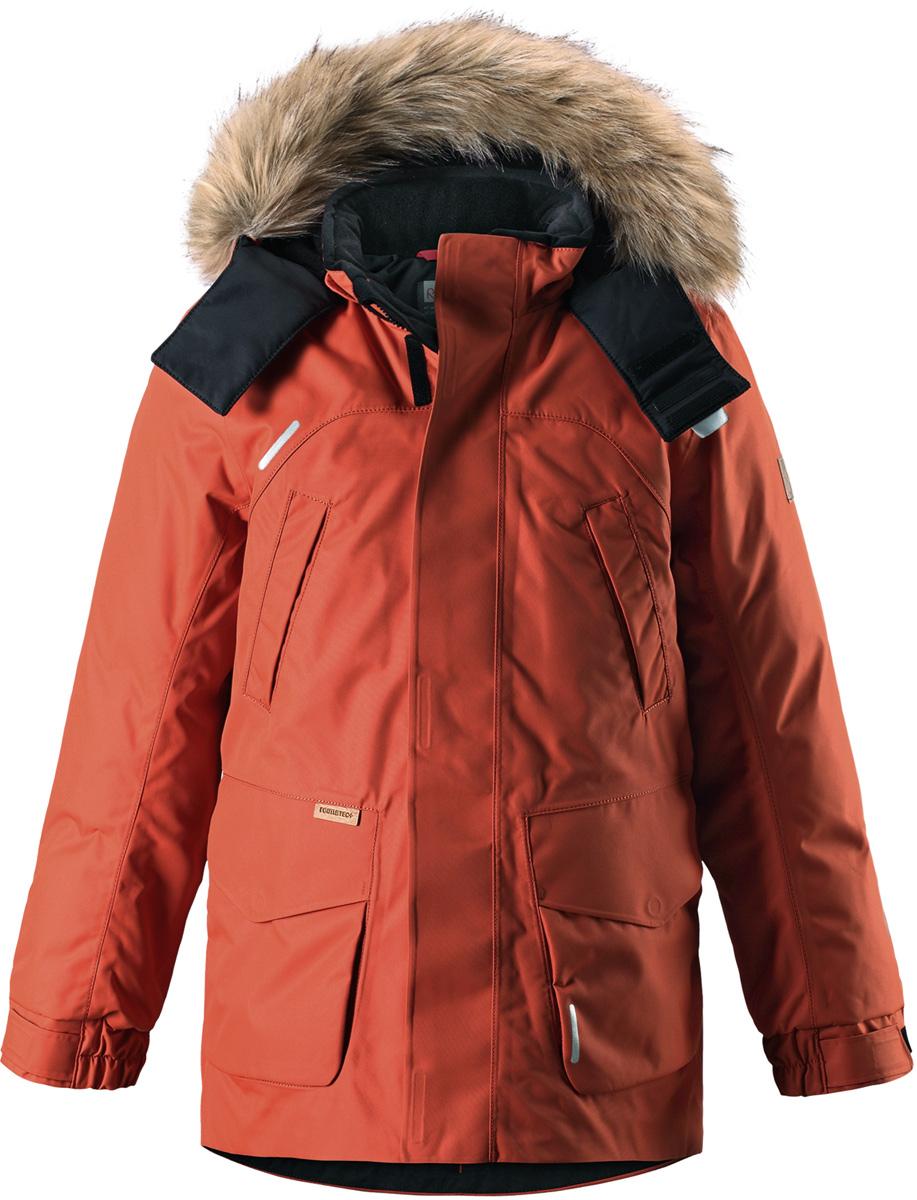 Пуховик детский Reima Reimatec Serkku, цвет: оранжевый. 5313012850. Размер 1525313012850Теплая детская куртка-пуховик сшита из ветронепроницаемого и дышащего материала, который, к тому же, абсолютно водонепроницаемый! Все швы в этой стильной куртке проклеены и водонепроницаемы, что гарантирует максимальный комфорт во время зимних прогулок, при любой погоде. Талия и подол этой удлиненной модели легко регулируются, что позволяет подогнать куртку точно по фигуре. Съемный капюшон защищает от пронизывающего ветра и безопасен во время игр на свежем воздухе. Кнопки легко отстегиваются, если капюшон случайно за что-нибудь зацепится. Куртка подшита гладкой подкладкой. Модный образ дополняет капюшон с элегантной оторочкой из искусственного меха, которую при желании также можно снять. В нескольких карманах удобно хранить разные важные предметы во время прогулок. Обратите внимание на удобную петельку, спрятанную в кармане с клапаном – к ней можно прикрепить светоотражатель для обеспечения лучшей видимости. Эта невероятно теплая зимняя куртка очень проста в уходе: дело в том, что у нее водо- и грязеотталкивающая поверхность, а после стирки ее можно сушить в сушильной машине. Теплая классическая куртка-пуховик подойдет на все случаи жизни – маленьким любителям активных прогулок будет в ней тепло и сухо!Высокая степень утепления.