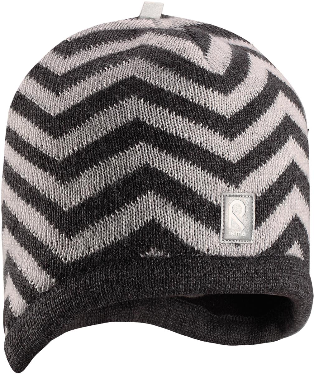 Шапка-бини детская Reima Viita, цвет: серый. 5285609730. Размер 505285609730Шапка для малышей и детей постарше из теплого шерстяного трикотажа. Материал превосходно регулирует температуру и хорошо согревает голову. Практичный фасон обеспечивает надежную защиту ушек: шапка снабжена ветронепроницаемые вставками и подкладкой из мягкого флиса.
