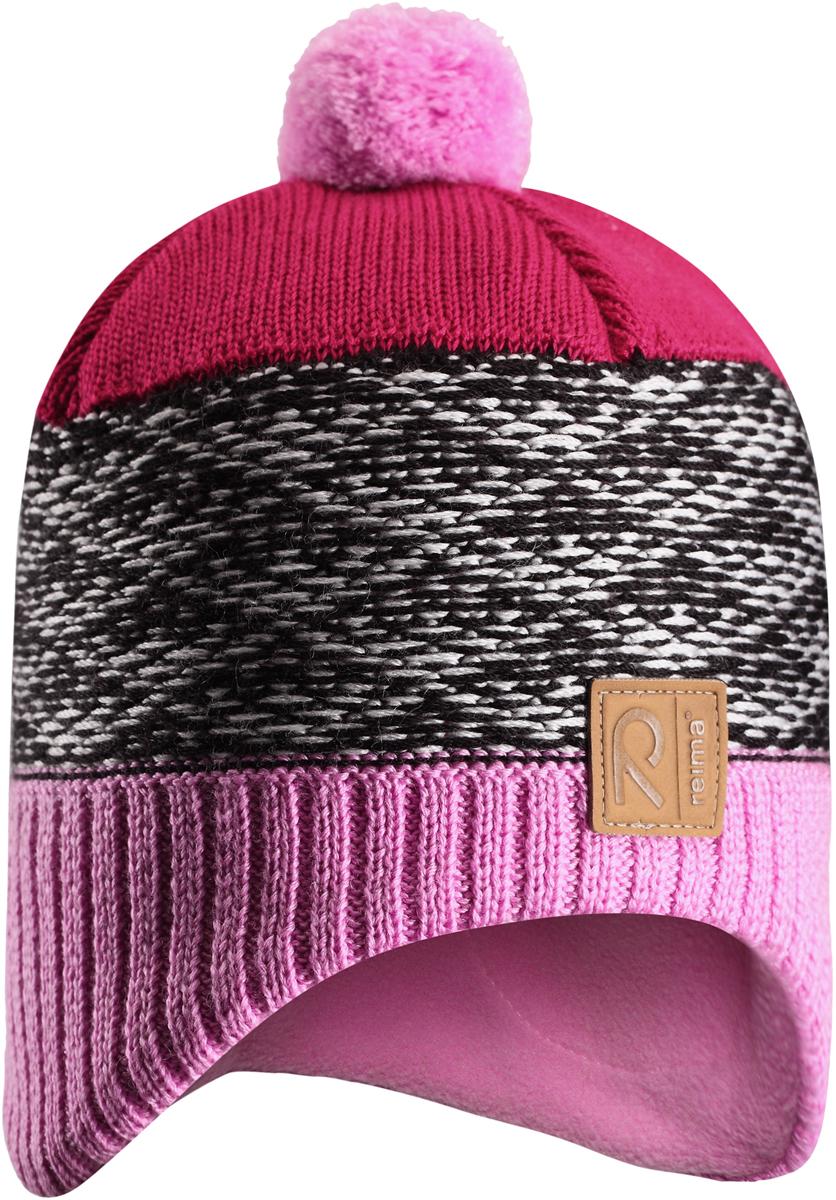 Шапка-бини детская Reima Tuli, цвет: розовый, серый. 5285614190. Размер 525285614190Детская шапка из теплого шерстяного трикотажа. Материал превосходно регулирует температуру и хорошо согревает голову. Ветронепроницаемые вставки и подкладка из мягкого флиса. Декоративный вязаный узор и помпон на макушке довершают образ.