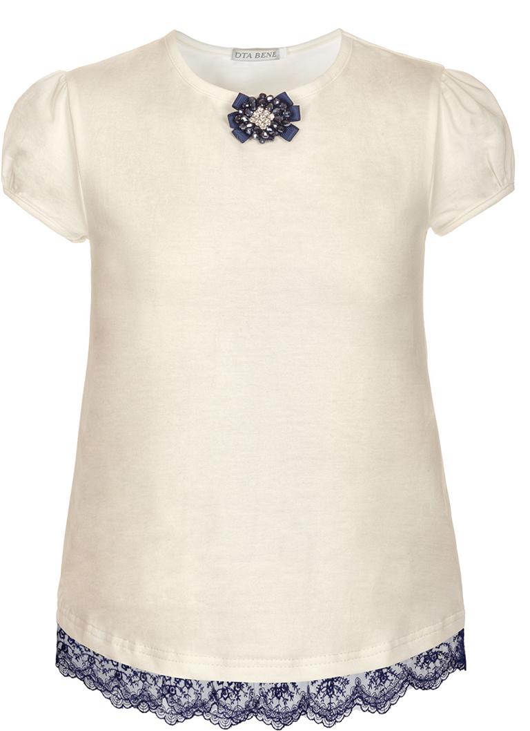 Блузка для девочки Nota Bene, цвет: молочный. SJR27048A17. Размер 140SJR27048A17Блузка для девочки Nota Bene выполнена из хлопкового трикотажа с кружевной тесьмой. Модель с короткими рукавами-фонариками и круглым вырезом горловины.