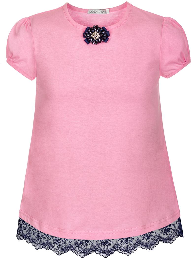 Блузка для девочки Nota Bene, цвет: розовый. SJR27048A05. Размер 140SJR27048A05Блузка для девочки Nota Bene выполнена из хлопкового трикотажа с кружевной тесьмой. Модель с короткими рукавами-фонариками и круглым вырезом горловины.