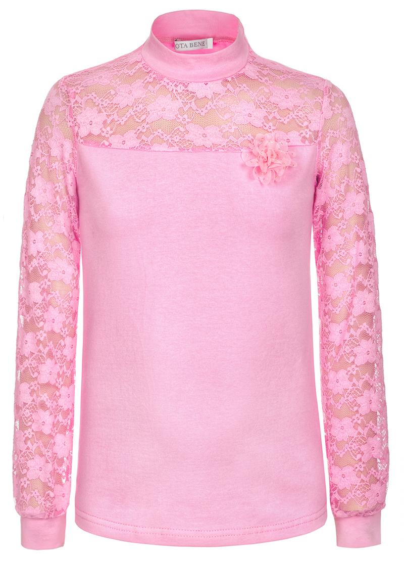 Блузка для девочки Nota Bene, цвет: розовый. CJR27047A05. Размер 122CJR27047A05Блузка для девочки Nota Bene выполнена из хлопкового трикотажа в сочетании с гипюром. Модель с длинными рукавами и воротником-стойкой.