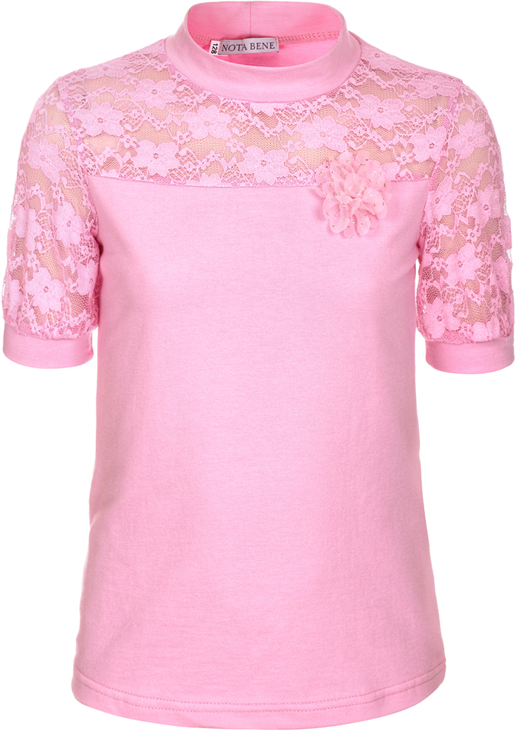 Блузка для девочки Nota Bene, цвет: розовый. CJR270432A05. Размер 134CJR270432A05Блузка для девочки Nota Bene выполнена из хлопкового трикотажа в сочетании с гипюром. Модель с короткими рукавами и воротником-стойкой.