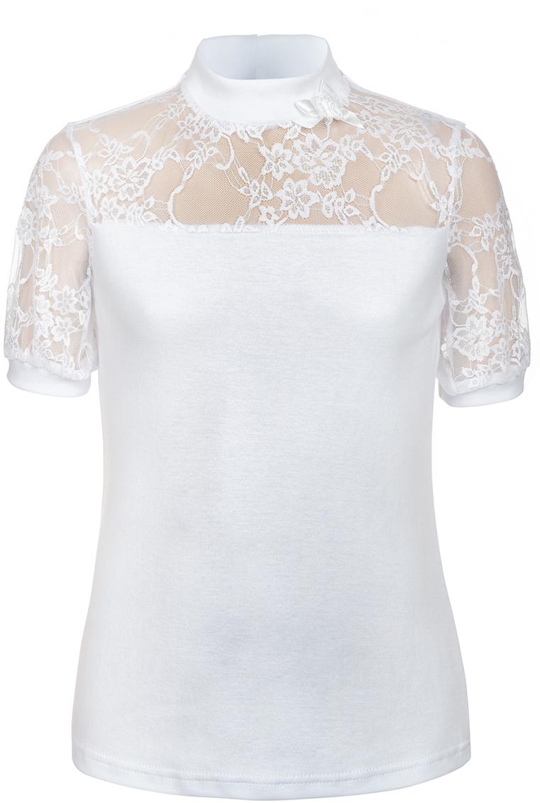 Блузка для девочки Nota Bene, цвет: белый. CJR270431A01. Размер 128CJR270431A01/CJR270431B01Блузка для девочки Nota Bene выполнена из хлопкового трикотажа в сочетании с гипюром. Модель с короткими рукавами и воротником-стойкой.