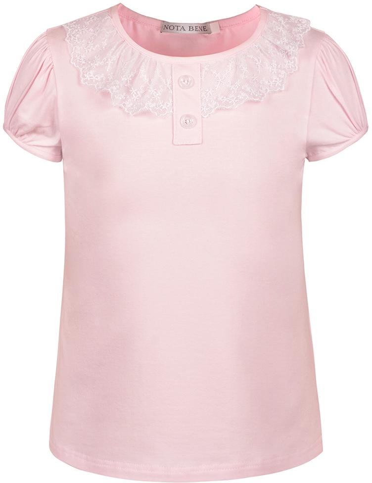 Блузка для девочки Nota Bene, цвет: светло-розовый. CJR27032A56. Размер 134CJR27032A56/CJR27032B56Блузка для девочки Nota Bene выполнена из хлопкового трикотажа с кружевной отделкой. Модель с короткими рукавами и круглым вырезом горловины.