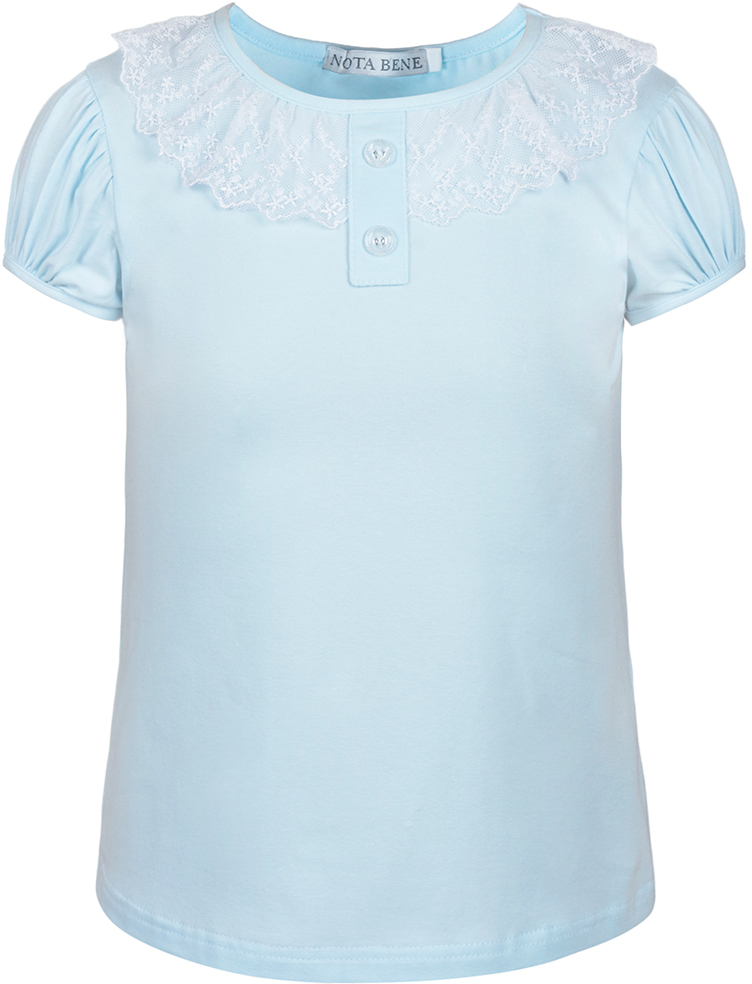 Блузка для девочки Nota Bene, цвет: голубой. CJR27032B10. Размер 152CJR27032A10/CJR27032B10Блузка для девочки Nota Bene выполнена из хлопкового трикотажа с кружевной отделкой. Модель с короткими рукавами и круглым вырезом горловины.
