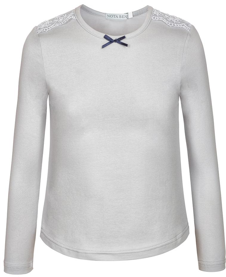 Блузка для девочки Nota Bene, цвет: серый. CJR27031B20. Размер 152CJR27031A20/CJR27031B20Блузка для девочки Nota Bene выполнена из хлопкового трикотажа с кружевной отделкой. Модель с длинными рукавами и круглым вырезом горловины.